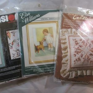 Lot Of 3 Needlepoint/Embroidery Kits
